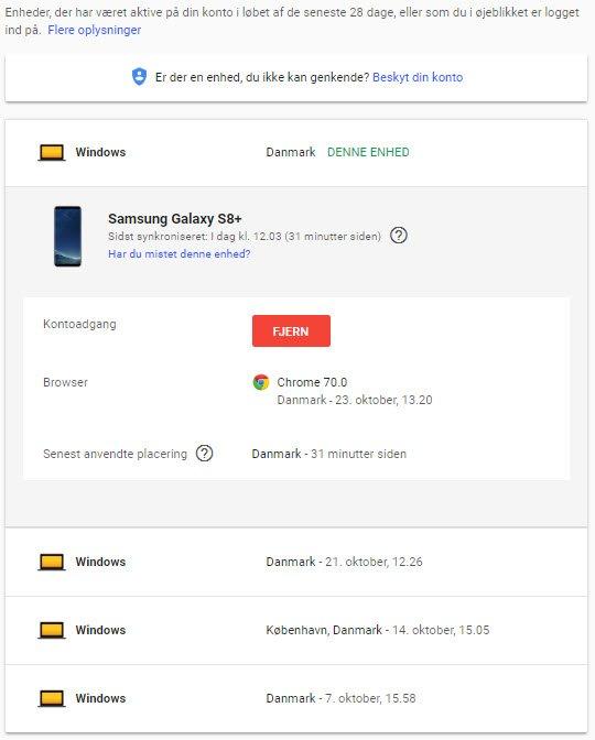 Hvad ved Google om mig - enheder jeg er logget ind på